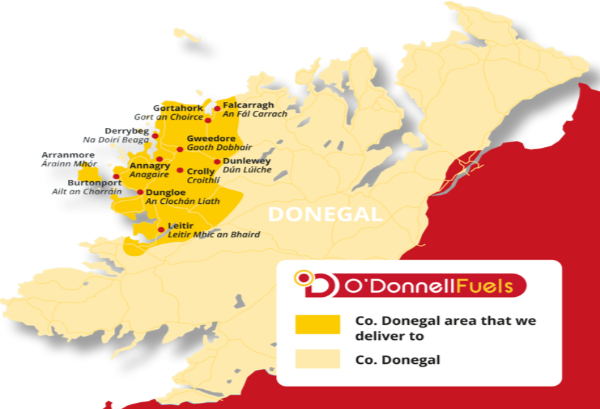 Donegal map where we delivery fuel and home heating oil